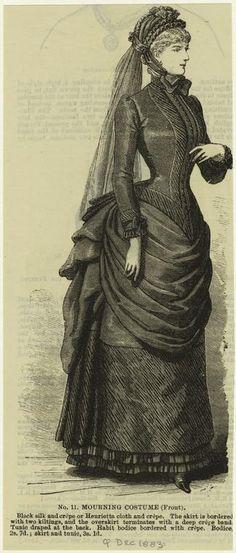Victorian mourning dress illustration.