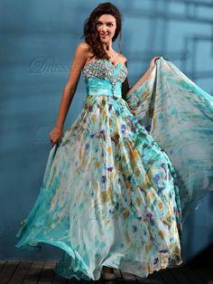 Graceful A-line Chiffon Floor-length Crystal Print Prom/Evening Dresses, Prom Dresses, Evening Dresses