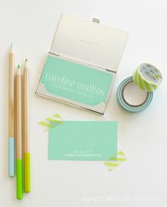 Custom Illustration: Calling Cards for the Graduate! // business card // mint green