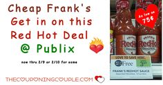 Cheap Frank's Hot Sauce ~ Get In On This Red Hot Deal @ Publix! Be sure to print your coupons and grab a few bottles of hot sauce now through 2/9 or 2/10! *  Click the link below to get all of the details ► http://www.thecouponingcouple.com/cheap-franks-get-in-on-this-red-hot-deal-publix/ #Coupons #Couponing #CouponCommunity  Visit us at http://www.thecouponingcouple.com for more great posts!