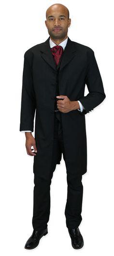 cfd766be0644a Wedding Mens Black Solid Notch Collar Frock Coat