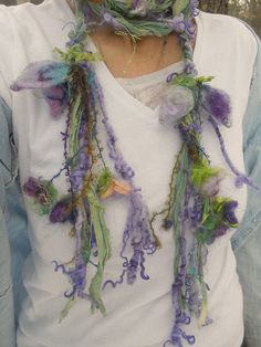 scarf soft enchanted forest fiber braid lariat by beautifulplace