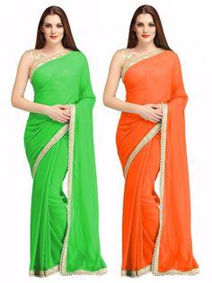Thankar Combo One Green Plain Saree And Orange Plain Saree Sarees on Shimply.com