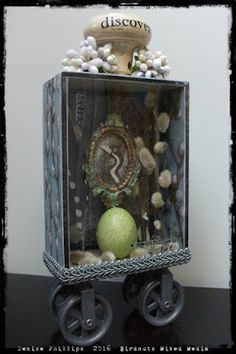 By Denise Phillips using the 5x7 Basic Shadow Box Shrine Kit, Resin Frame, Pulley Wheels, and more from Café Art Gallery. www.RetroCafeArt.com