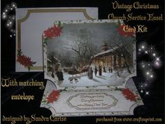 Vintage Christmas Church Service Easel Card Kit on Craftsuprint designed by Sandra Carlse - A lovely christmas vintage 3d easel card kit with matching envelope. This kit has 6 sheets which include 2 sheets for the envelope, 1 card base, 1 sheet with sentiment banners, 1 sheet for main image
