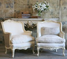 a charming pair of French chairs ...