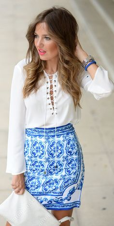 Vintage Print Skirt Outfit Inspo by Mi Aventura Con La Moda