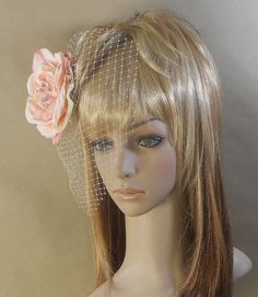Pink Bridal Flower Hair Birdcage Fascinator by IrmasElegantBoutique