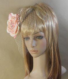 Pink Bridal Flower Hair Birdcage Fascinator by IrmasElegantBoutique