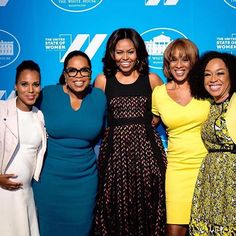 When one photo includes a trailblazing actress, a media mogul, a First Lady, an award-winning journalist, and a television powerhouse... Pictured from left to right: Kerry Washington, Oprah Winfrey, Michelle Obama, Gayle King, and Shonda Rhimes. #WCW #becauseofthemwecan