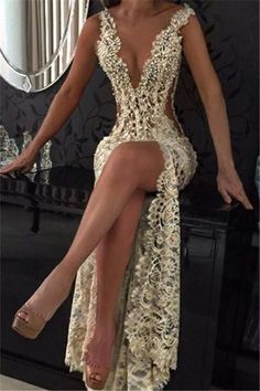 Sexy Lace Evening Gowns Deep V Neck Beaded Thigh-High Slit Sheer Pageant Dresses