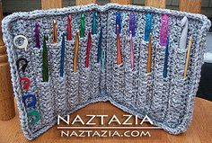 Crochet Hook Case Holder (FREE Pattern) by naztazia, via Flickr THIS THING HOLDS MORE HOOKS THAN MY STORE BOUGHT CASE - I LOVE IT !