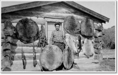 Stretching & Tanning of Hides & Skins, Photo of Fur Trapper with his Livlihood.