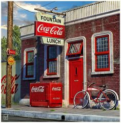 Vintage Coca Cola Ads - some of us are old enough to remember real places that looked very close to this!