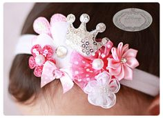 Lil Hiccups Princess Cluster Band - Pink Headband -Crown Headband- Baby Girl Headband - Newborn Headband - Photography Prop- Baby Shower. $8.00, via Etsy.
