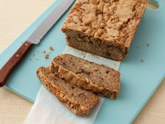 Zucchini Bread recipe from Paula Deen via Food Network - replaced 1/4 c oil with butter, did half of flour as whole wheat. Next time: could reduce nutmeg, and could stand up to a greater proportion of whole wheat.