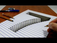 Draw a number 7 Hole on Line Paper Trick Art 3d Paper Art, Paper Drawing, Simple Optical Illusions, Drawing Sketches, 3d Drawings, Drawing Ideas, Illusion Art, Block Lettering, Learn To Draw