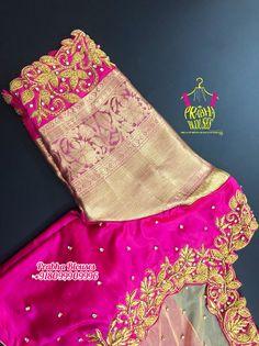 Wedding Saree Blouse Designs, Best Blouse Designs, Saree Blouse Neck Designs, Simple Blouse Designs, Wedding Sarees, Hand Embroidery, Embroidery Designs, Hand Work Blouse Design, Silk Saree Kanchipuram
