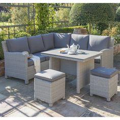Kettler Palma Mini Corner Set White Wash With Taupe Cushions - (0193335-5510C) - Garden Furniture World