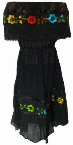 This beautiful Mexican dress features an elastic tube top and elastic waist which makes this a one-size-fits-Medium through XL This one piece off-shoulder dress features a unique crochet design and be