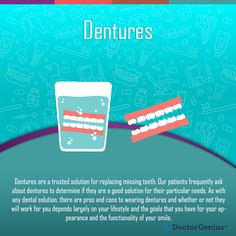 Removable dentures are an option to get a complete, gorgeous smile. Learn about how full dentures, partials and implant retained dentures enhance your smile Cosmetic Dentistry Procedures, Implant Dentistry, Teeth Implants, Dental Implants, Smile Dental, Dental Care, Sleep Medicine, Dental Veneers, How To Prevent Cavities