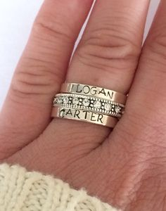 Personalized ring Sterling silver stacking ring personalized - hand stamped ring - very sturdy ring - great gift - fun piece of jewelry