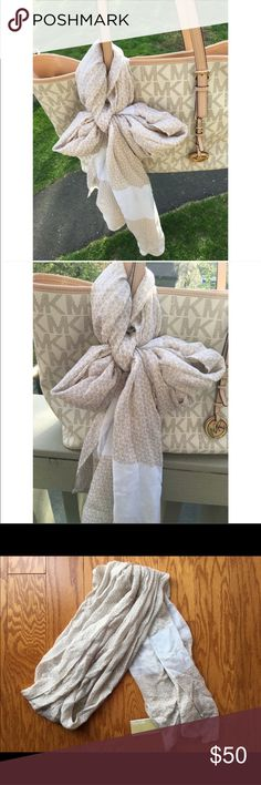 NWT Michael Kors MK logo scarf NWT lightweight tan and white MK scarf. Made with 100% viscose so it's perfect as an accent piece for the summer or an accessory on any purse! **BAG IN PHOTO NOT INCLUDED**  Buy with confidence! ✔️ Top rated seller ✔️ Fast shipper (1 day) ✔️ Top 10% seller ✔️ Top 10% sharer ✔️ Posh Mentor Michael Kors Accessories Scarves & Wraps