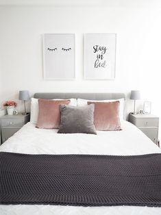 11 Cool Pink Bedroom Ideas That Can be Pretty - All Bedroom Design White Gray Bedroom, Grey Bedroom With Pop Of Color, Grey Bedroom Decor, Glam Bedroom, Room Ideas Bedroom, Grey Room, Trendy Bedroom, Scandi Bedroom, Grey Bedroom Design