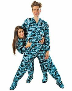 Matching Couples #Pajamas: Blue Camouflage Footed Pajamas w/ Butt Flap