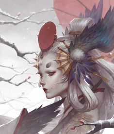 Kai Fine Art is an art website, shows painting and illustration works all over the world. Anime Fantasy, Fantasy Art, Fantasy Paintings, Character Design Inspiration, Chinese Art, Japanese Art, Asian Art, Art Drawings, Hunting Drawings
