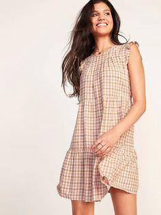 Tiered Linen-Blend Flutter-Sleeve Swing Dress   Old Navy Tiered Skirts, Tiered Dress, Swing Dress, Dress Up, Warm Dresses, Women's Dresses, Gauze Dress, Pleated Bodice, Old Navy Women