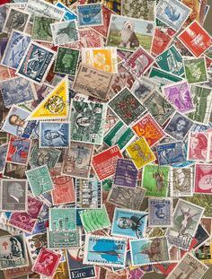 vintage and modern postage stamps