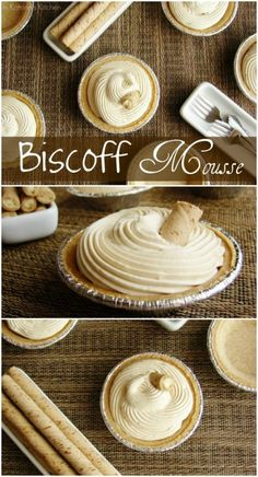 Biscoff Mousse Recipe Creamy Biscoff Mousse piped into mini graham cracker pie shells- decadent and simple at the same time! {Peanut Butter may be substituted for Biscoff. Mini Desserts, Just Desserts, Delicious Desserts, Dessert Recipes, Yummy Food, French Desserts, Dessert Cups, Plated Desserts, Biscoff Cookie Butter