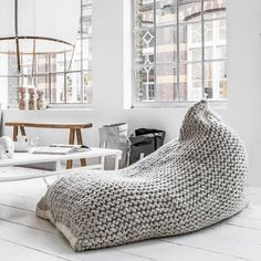 Nest Knitted Bean Bag #Cozy, #Lounge, #Relax