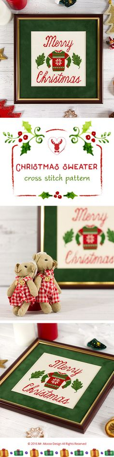 Cross stitch pattern 4.99$ #crossstitchpattern #christmas #xmas  #sweater #embroidery #primitive #crossstitch #mrmoosedesign