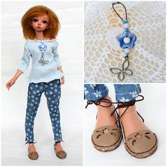 """NEW! OOAK outfit """"Blue mood"""" with shoes for slim MSD Minifee ( A,B,C bust ) by TashkasBears on Etsy"""