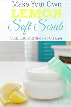 Make Your Own Homemade Lemon Soft Scrub - Great For Cleaning Ceramic Sinks, Bathtubs and Toilets Too! All natural and chemical free!
