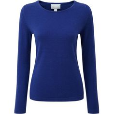 Pure Collection Cashmere Crew Neck Jumper (2.075 ARS) ❤ liked on Polyvore featuring tops, sweaters, crew-neck sweaters, crew neck sweaters, long sleeve sweater, blue sweater and plus size sweaters