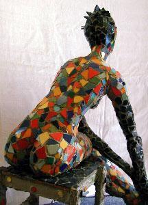 """""""La Sirène"""" mosaic sculpture by Elisabeth Faucheur"""