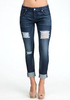 bebe Easter Blue Skinny Boyfriend Jeans