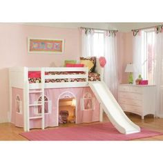 Bolton Furniture Cottage White Twin Low Loft Bed with Pink and White Bottom Curtain and Slide - The Home Depot Toddler Loft Beds, Low Loft Beds, Modern Bunk Beds, Kids Bunk Beds, Bed For Girls Room, Girl Room, Kids Bedroom, Little Boy Beds, Playhouse Bed