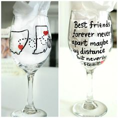 Best Friend Gift- Long Distance Friendship Wine Glass- Moving Away Gift- Personalized Hand Painted Wine Glass Personalized Wine Glass