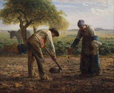 Jean-François MILLET (French painter, 1814-1875): The Potato Planters, c. 1861