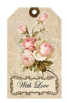 Shabby chic crafts ideas decoupage 27 Ideas for 2019 Images Vintage, Vintage Tags, Vintage Diy, Vintage Labels, Vintage Roses, Vintage Paper, Vintage Postcards, Printable Vintage, Vintage Floral