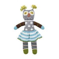 Fair trade cotton owl doll wearing a skirt - precious!