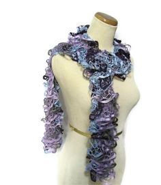 Christmas In July Hand Knit Ruffled Scarf  by ArlenesBoutique, $30.95