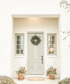 Shoji white and Intellectual Gray by Sherwin Williams Exterior Paint Colors For House, Paint Colors For Home, Exterior Colors, Exterior Design, Exterior Paint Combinations, White Brick Houses, Painted White Brick House, Painted Brick Exteriors, House Paint Color Combination