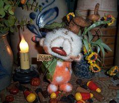 "Primitive Halloween Pumpkin Orange Teddy Bear 5"" Doll Vtg Patti's Ratties OOAK"