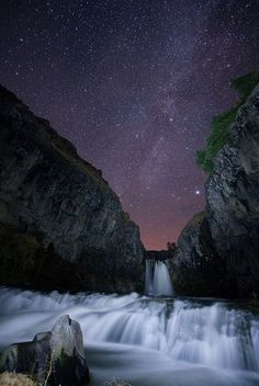 White River Falls, Oregon, USA.Great shot of the starry night skies.