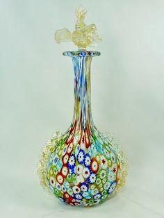 Vintage Murano Art Glass Millefiori Liquor Bottle Perfume Decanter w Gold Decor | eBay